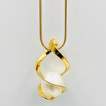 Twist sterling silver gold plated white fresh water pearl pendant