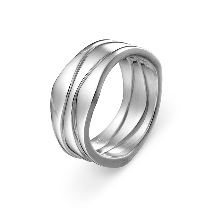 Wave 3 Piece Solid Sterling Silver Ring