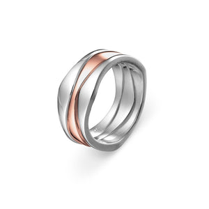 Wave 3 piece ring solid sterling silver rose gold plated centre