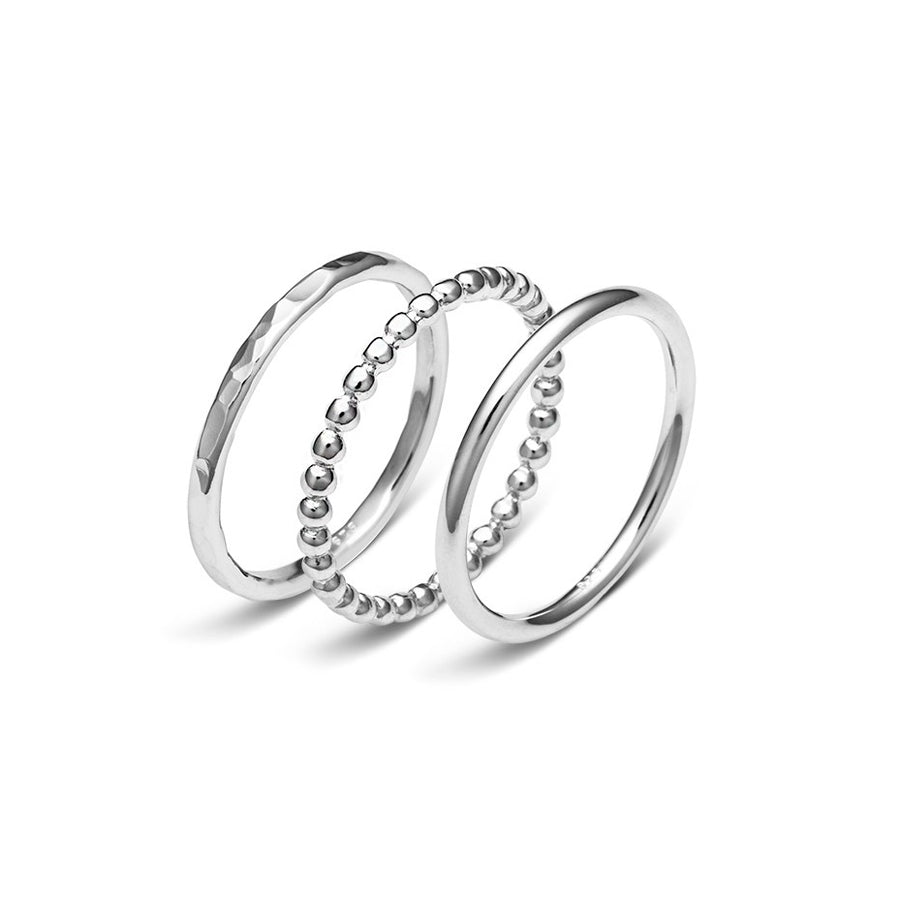Wish 3 piece sterling silver hammered ball domed ring set