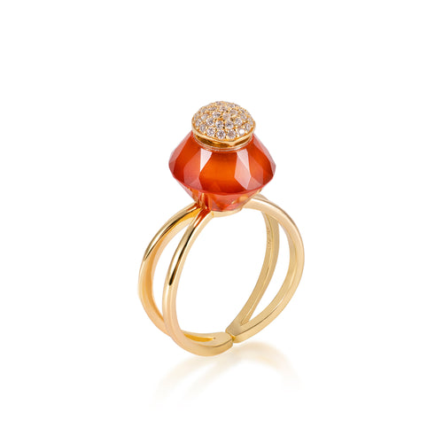 HALO | Carnelian Gold Plated Ring