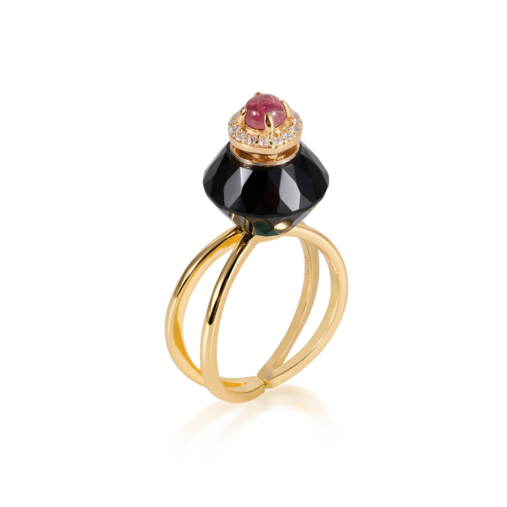 SILHOUETTE | Black Obsidian Gold Plated Ring