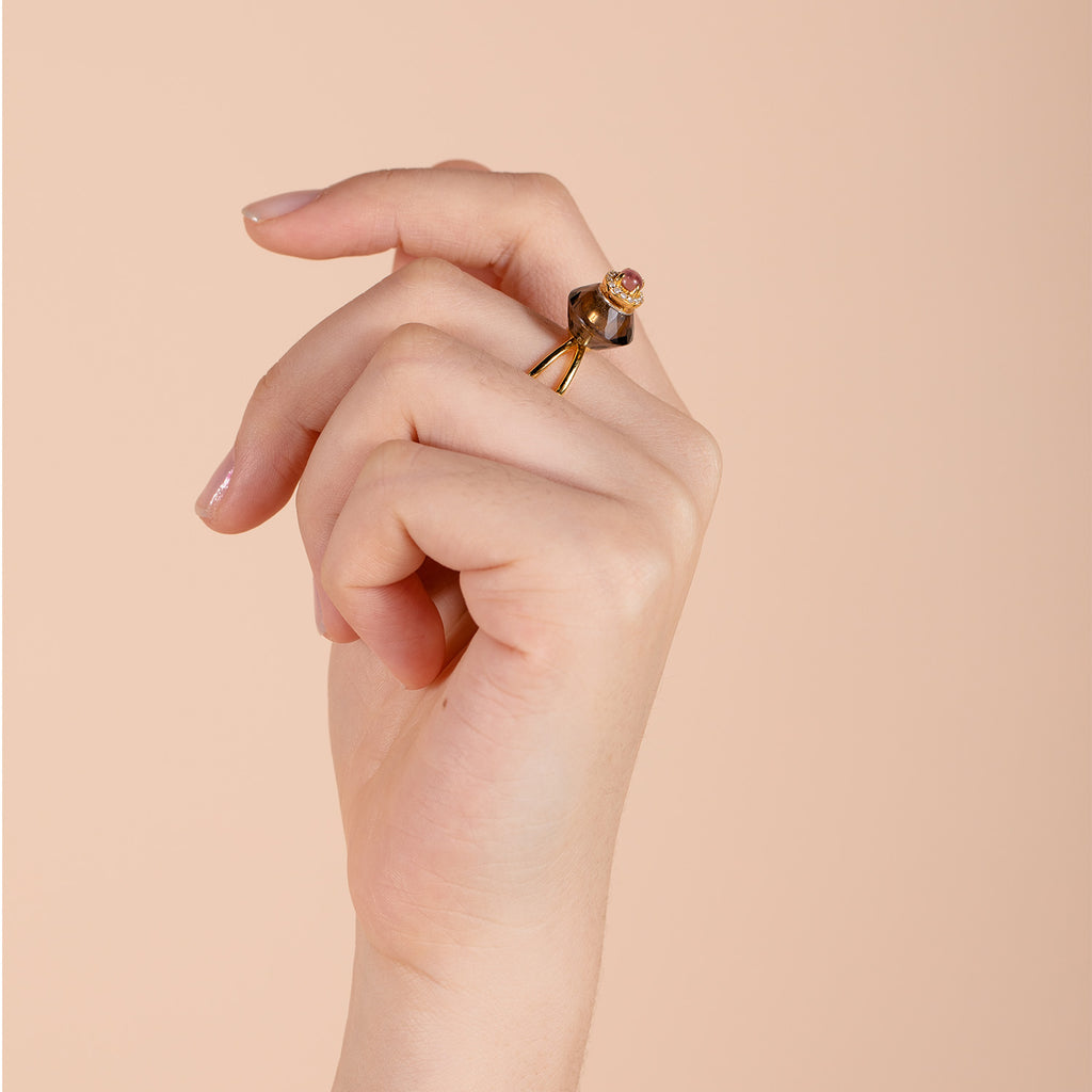 DOUCE | Smoky Quartz Gold Plated Ring