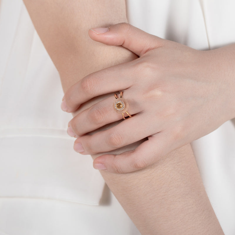 FERVID | Rose Quartz Gold Plated Ring