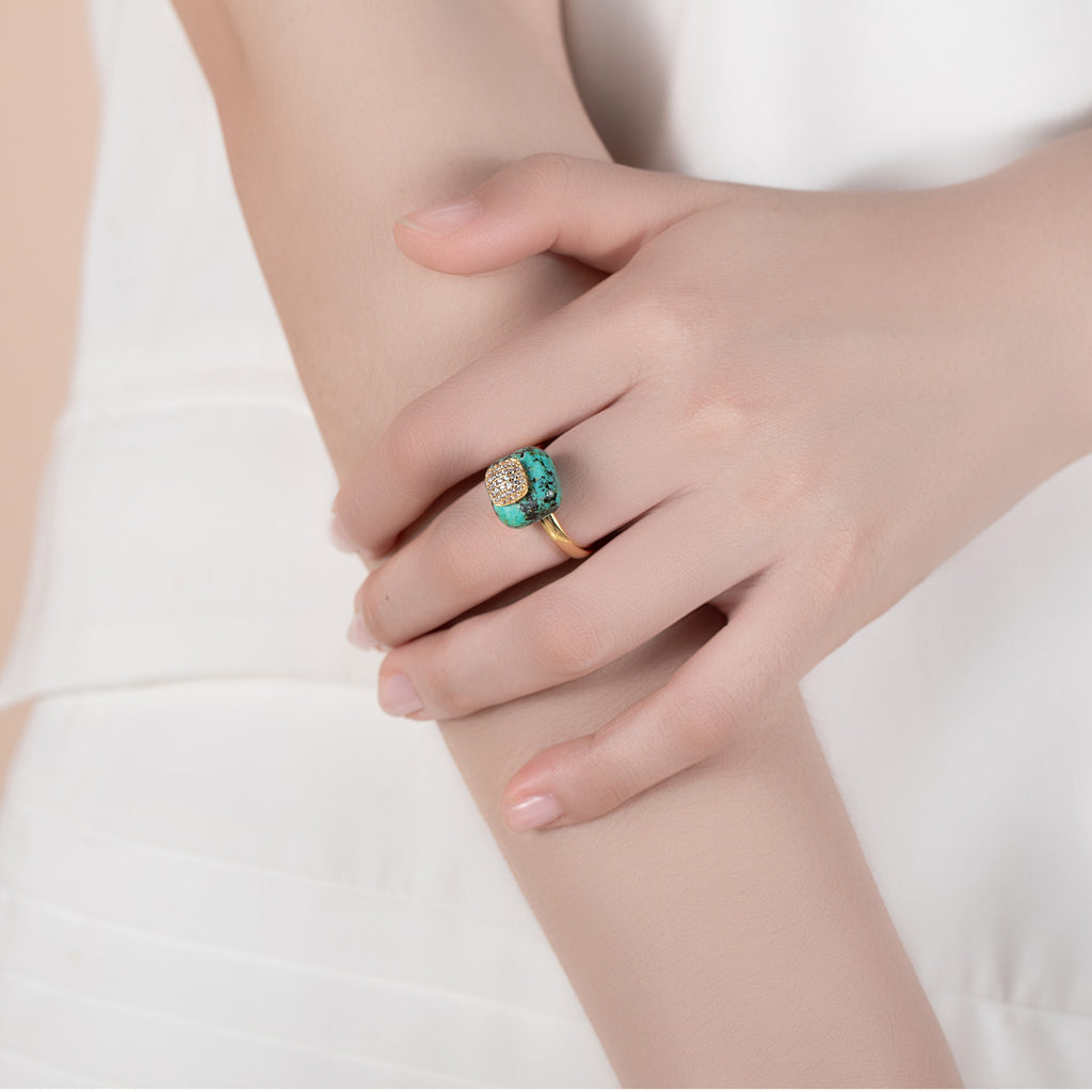SATE | African Turquoise Gold Plated Ring