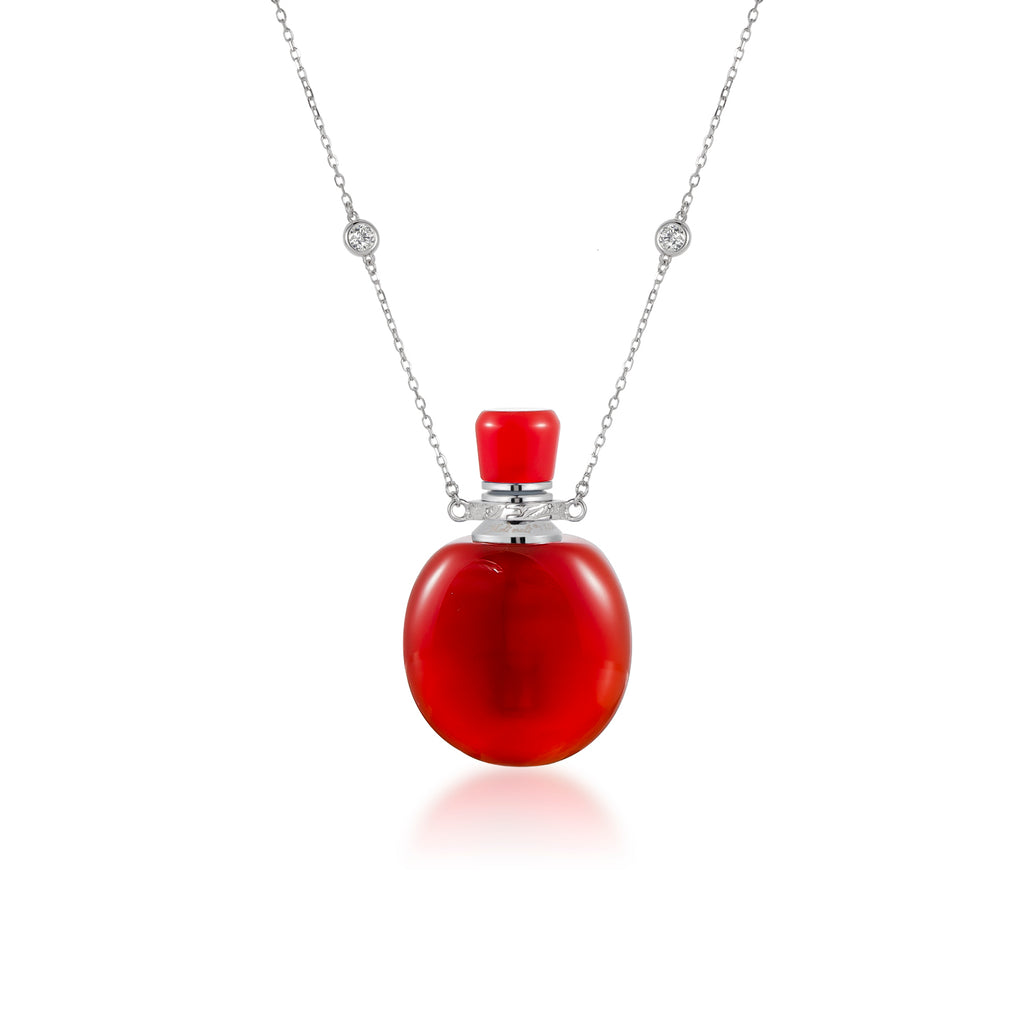 LUMIERE | Oblate Carnelian Sterling Silver Necklace