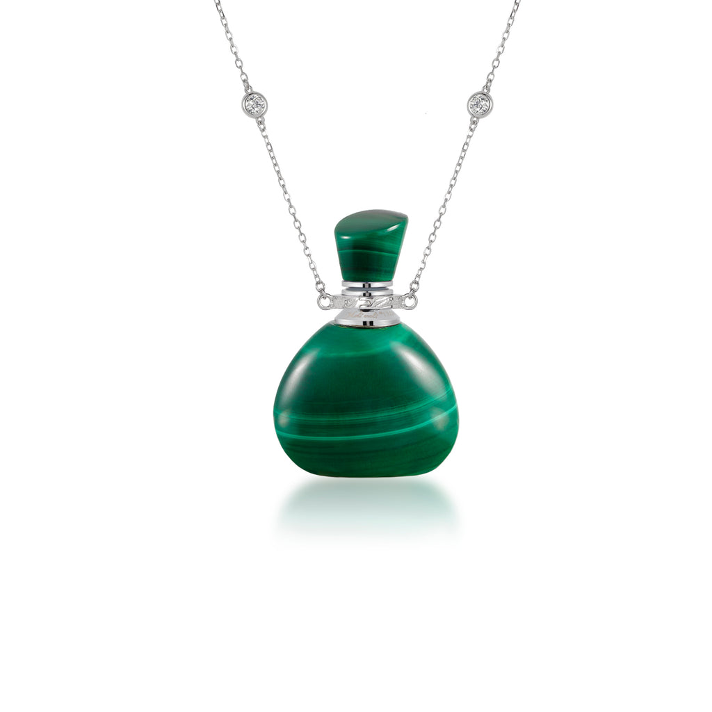 FLEUR | Sterling Silver Necklace with Malachite Pendant