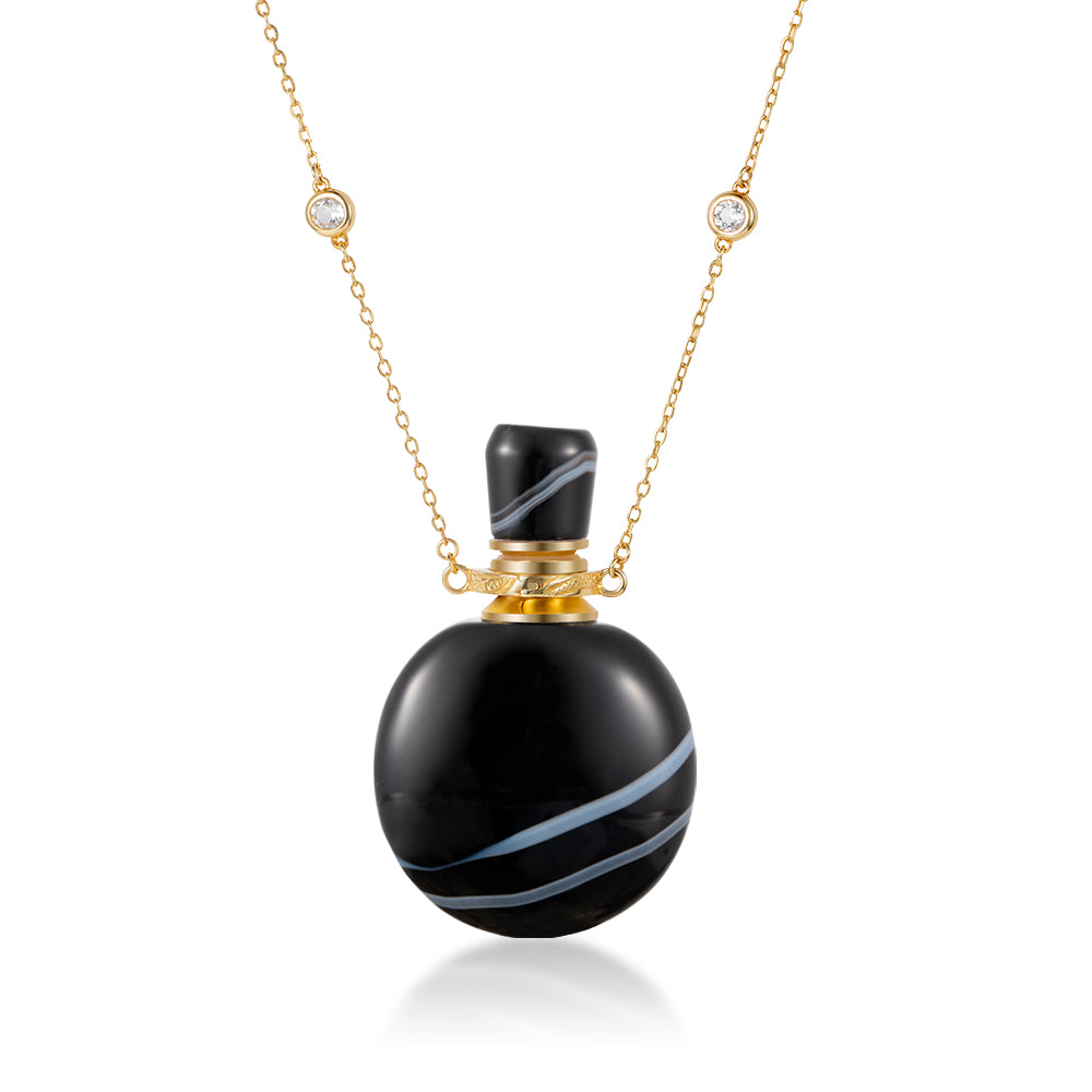 CHOATE | Black Stripe Agate Pendant Necklace