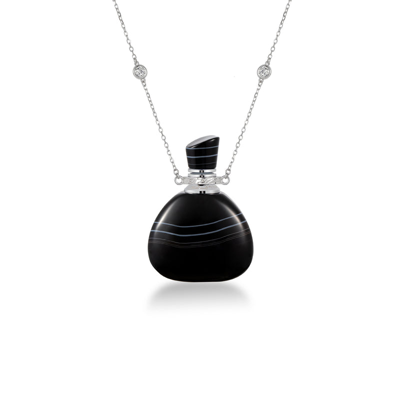 GUSTO | Black Stripe Agate Sterling Silver Necklace