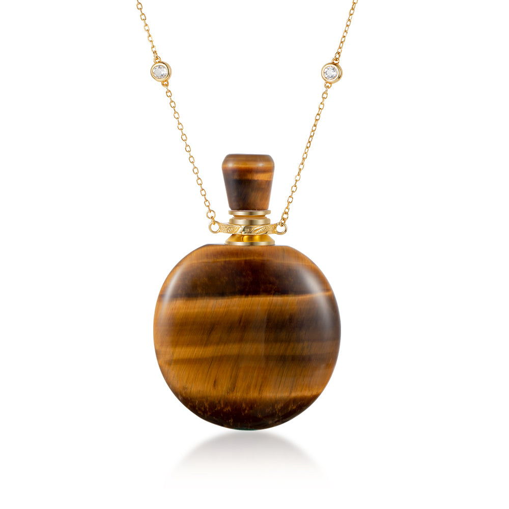 AMBER  | Yellow Tiger Eye Gold Plated Necklace