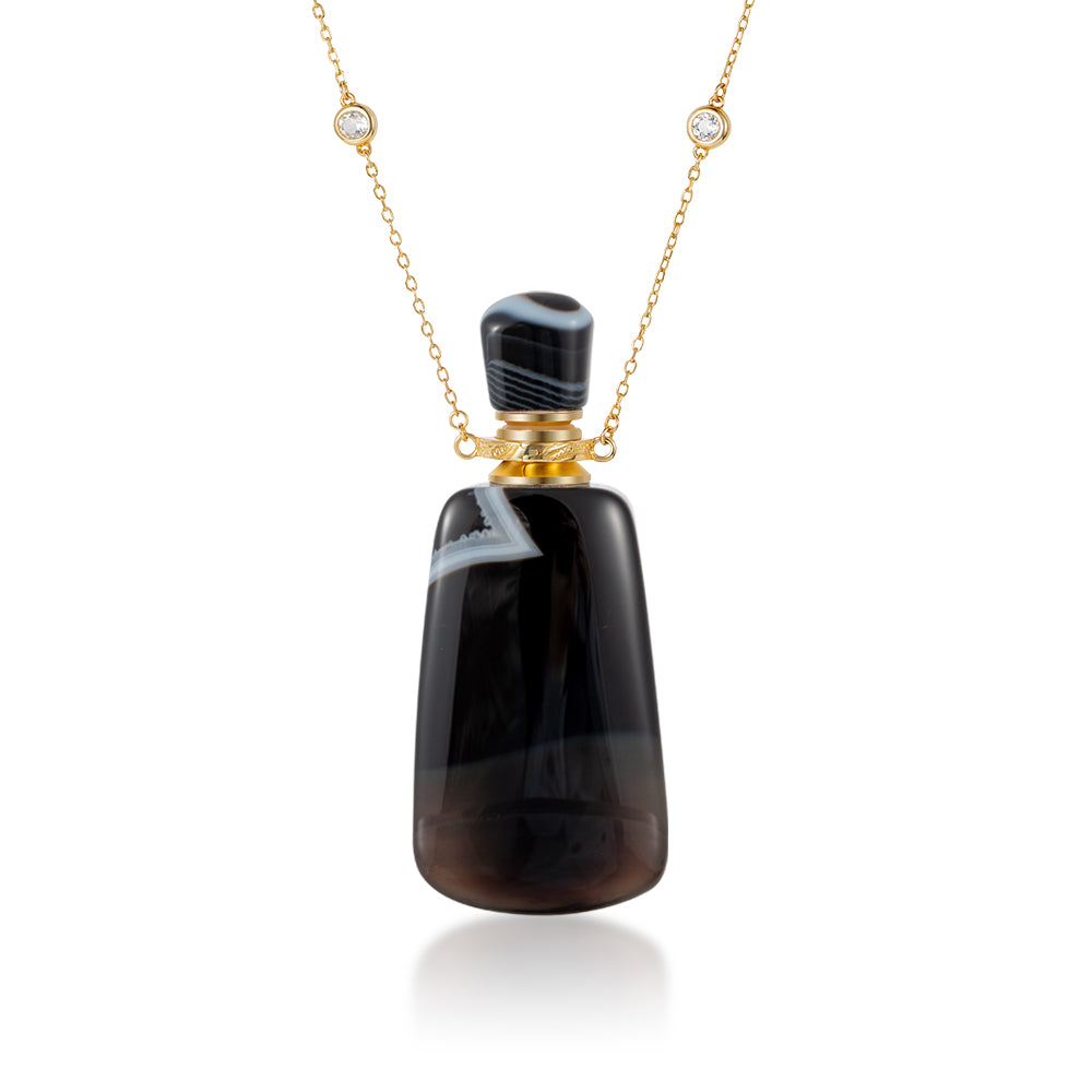 SABLE | Black Stripe Agate Gold Plated Necklace