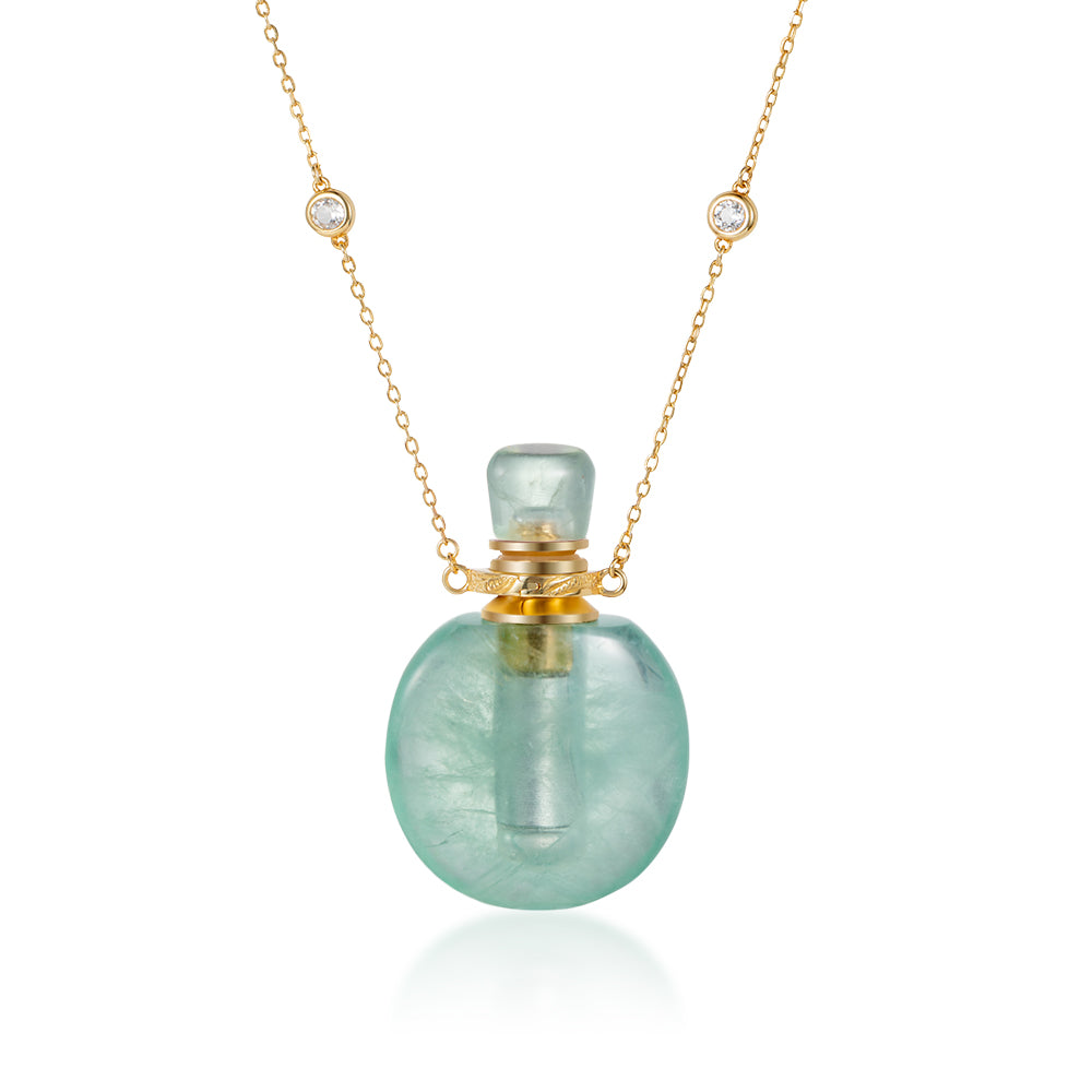 LAMOUR | Green Fluorite Gold Plated Necklace