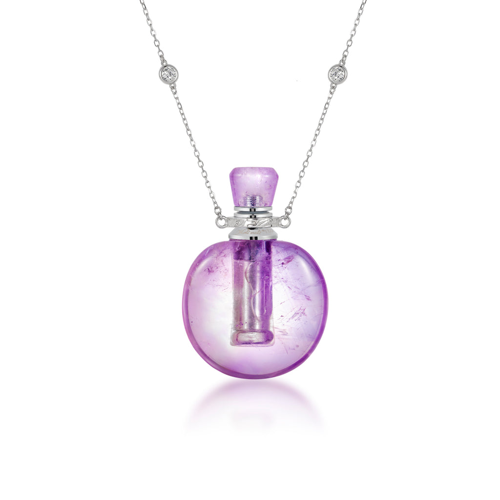HEATHER | Oblate Amethyst Pendant Necklace