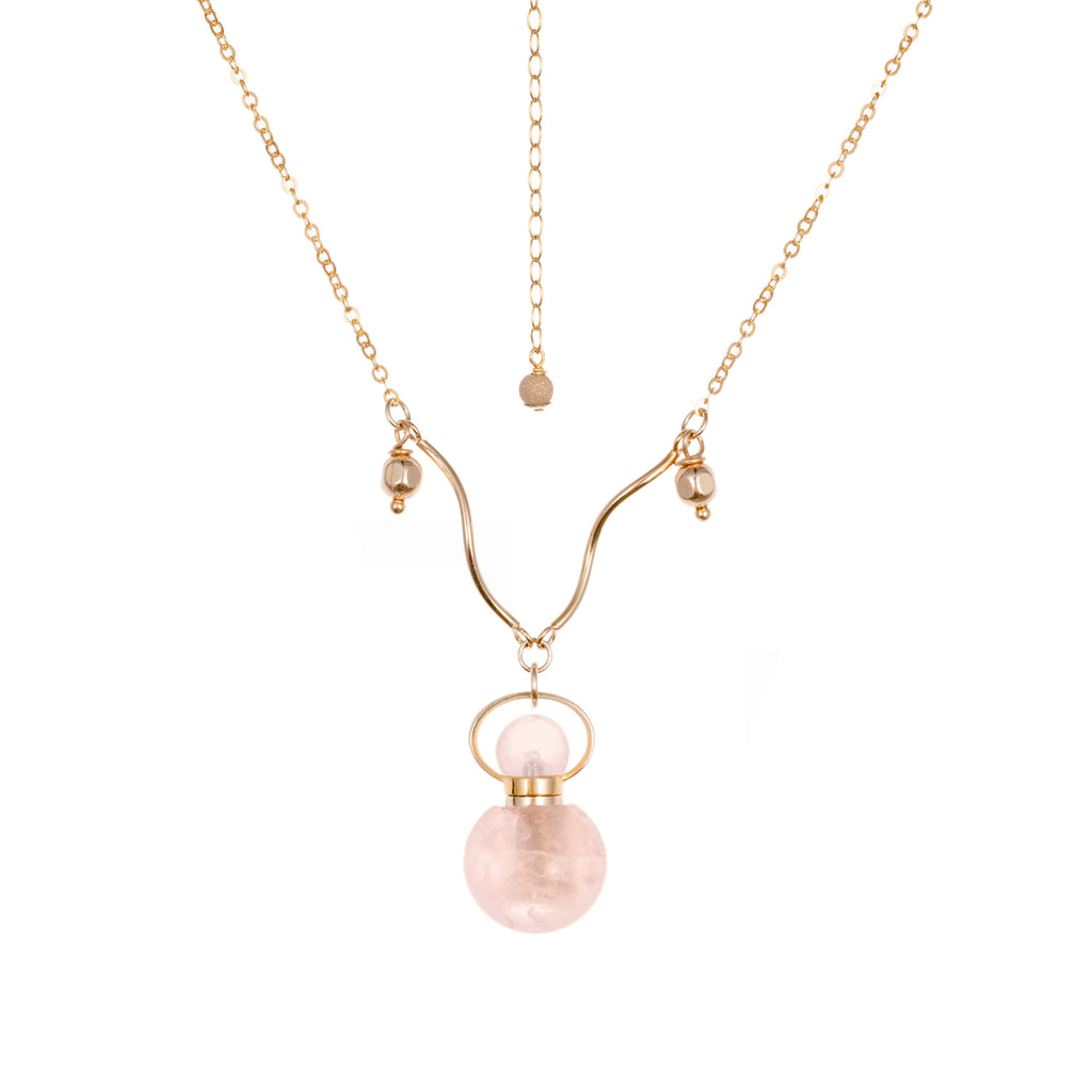 MOXIE | Rose Quartz Gold Plated Necklace