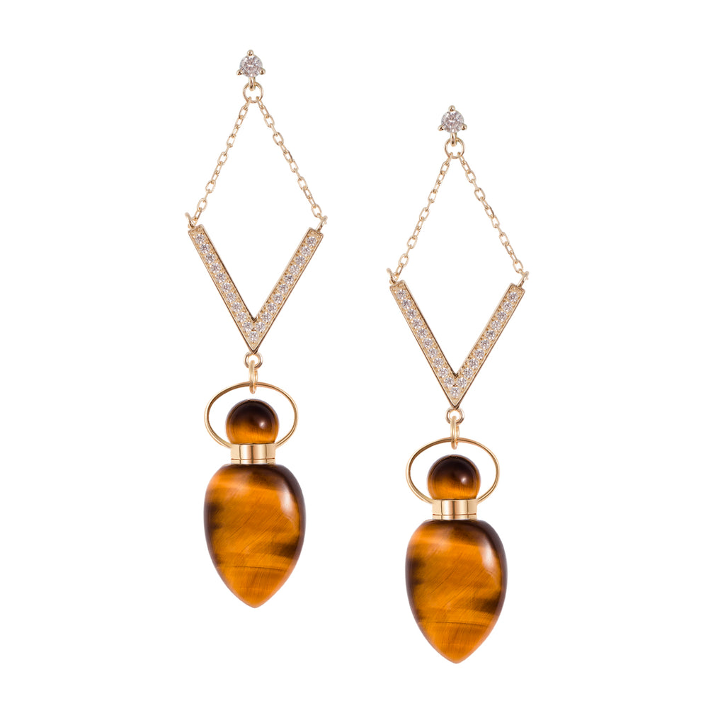 MAGNOLIOUS | Yellow Tiger Eye Earrings