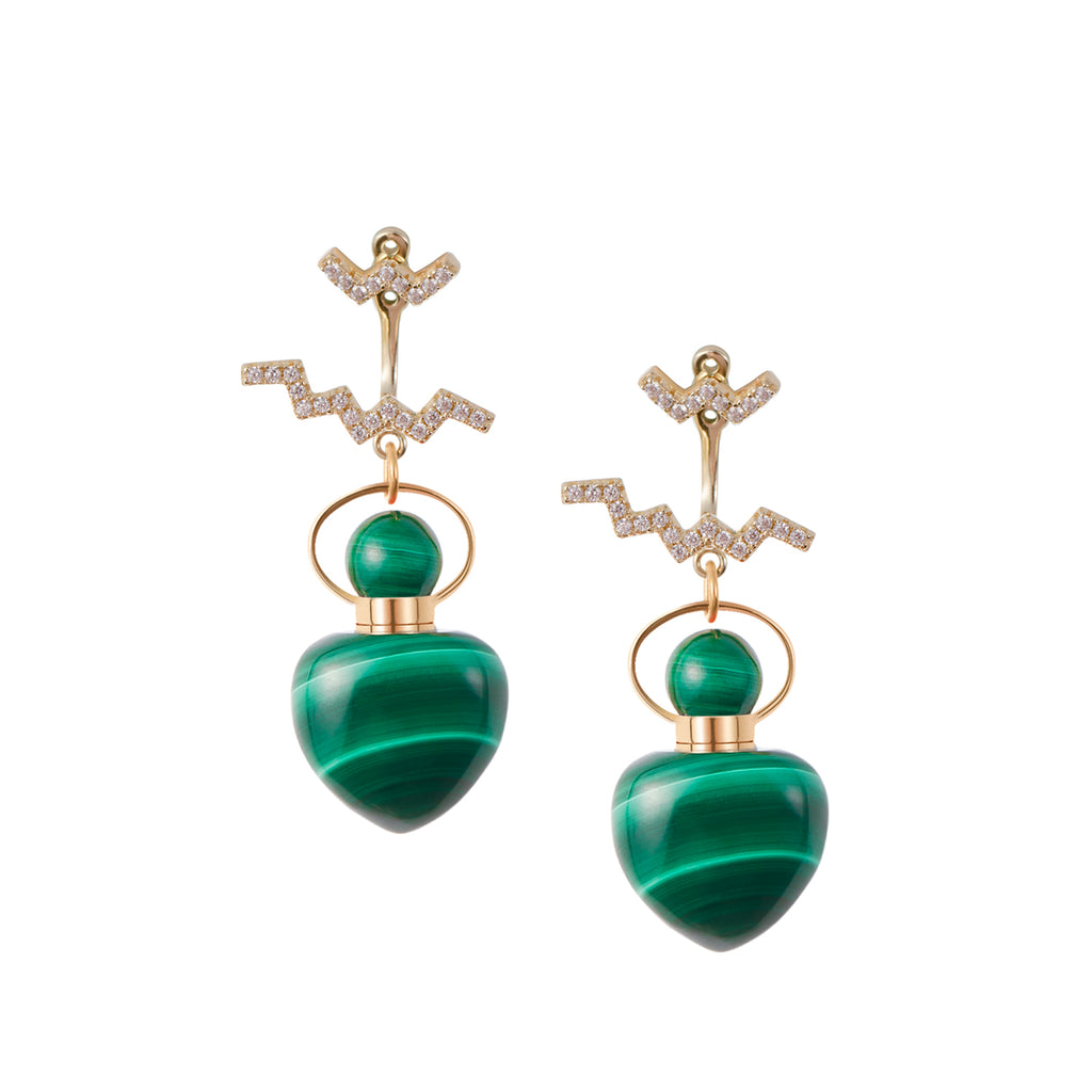 MOIRAI | Malachite Earrings