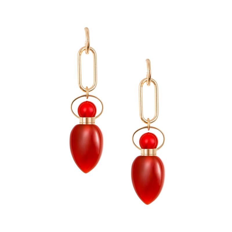 MINERVA | Carnelian Sterling Silver Earrings