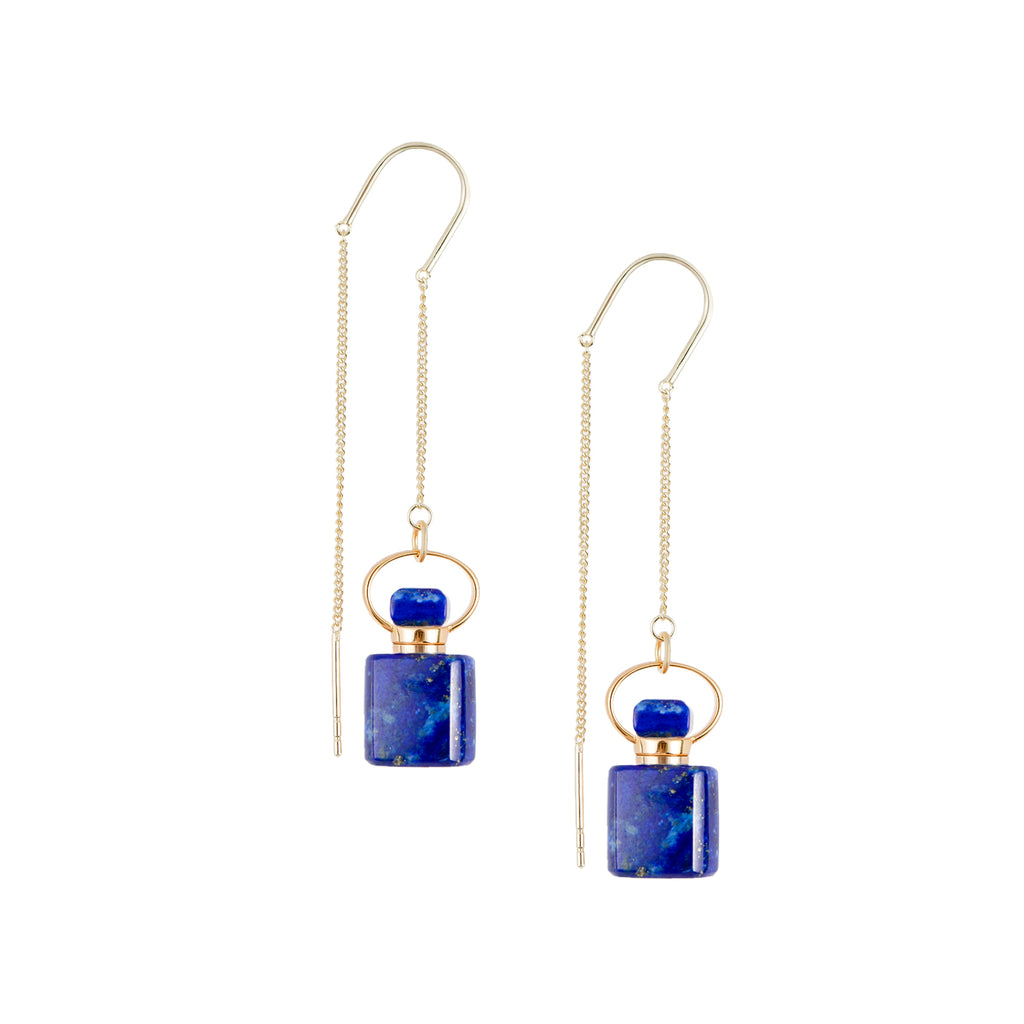 Mystery| Square Shaped Lapis Lazuli Earrings