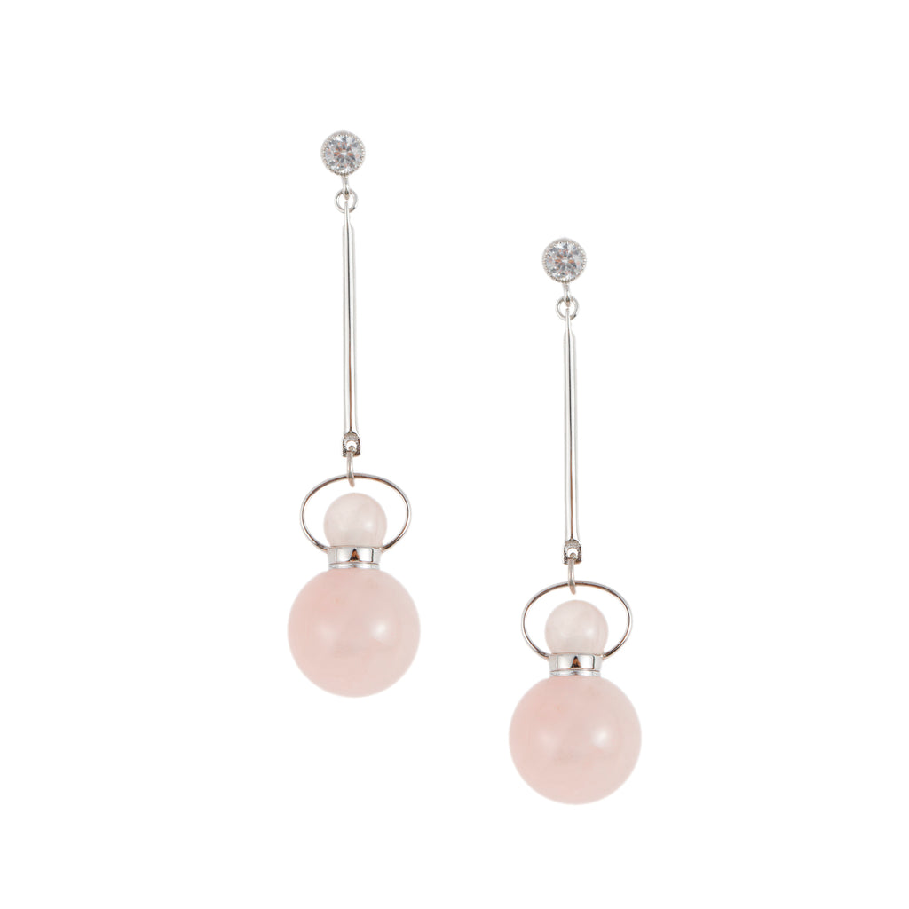 BLOOM | Rose Quartz Threader Earrings