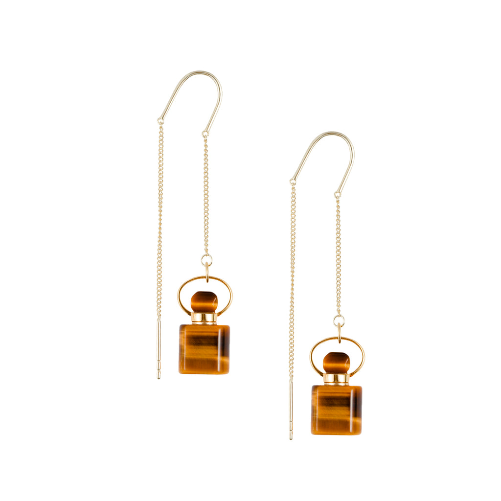DISTINCTIVE | Square Shape Yellow Tiger Eye Earrings