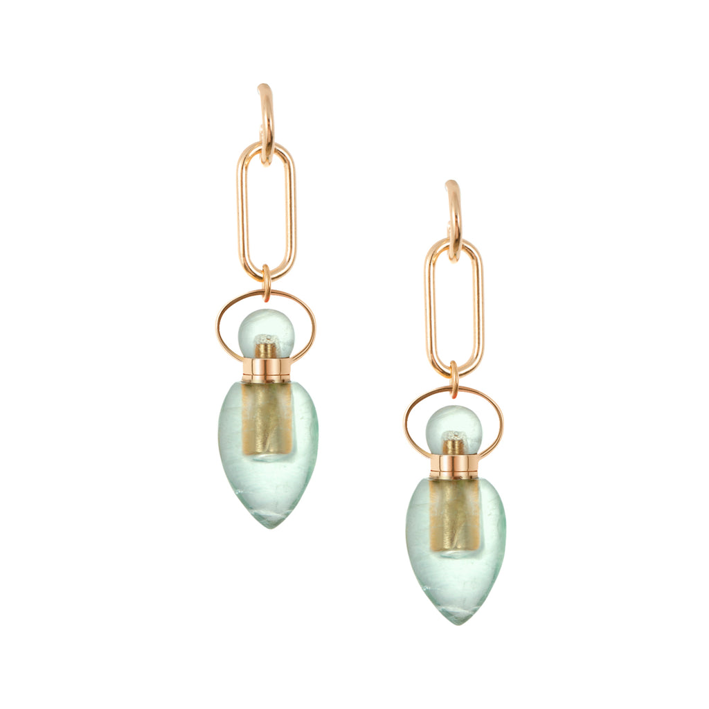 SERAPHIC | Link Chain Green Fluorite Earrings