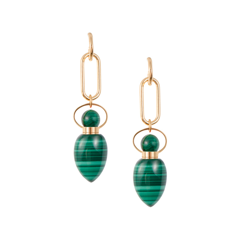 VILLANELLE | Link Chain Malachite Earrings