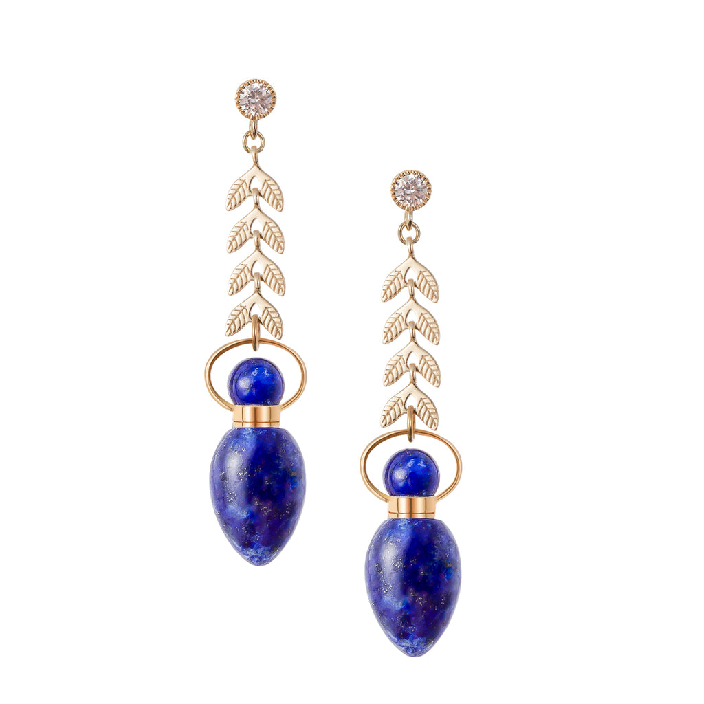 AVAIL | Leaf Shaped Lapis Lazuli Earrings