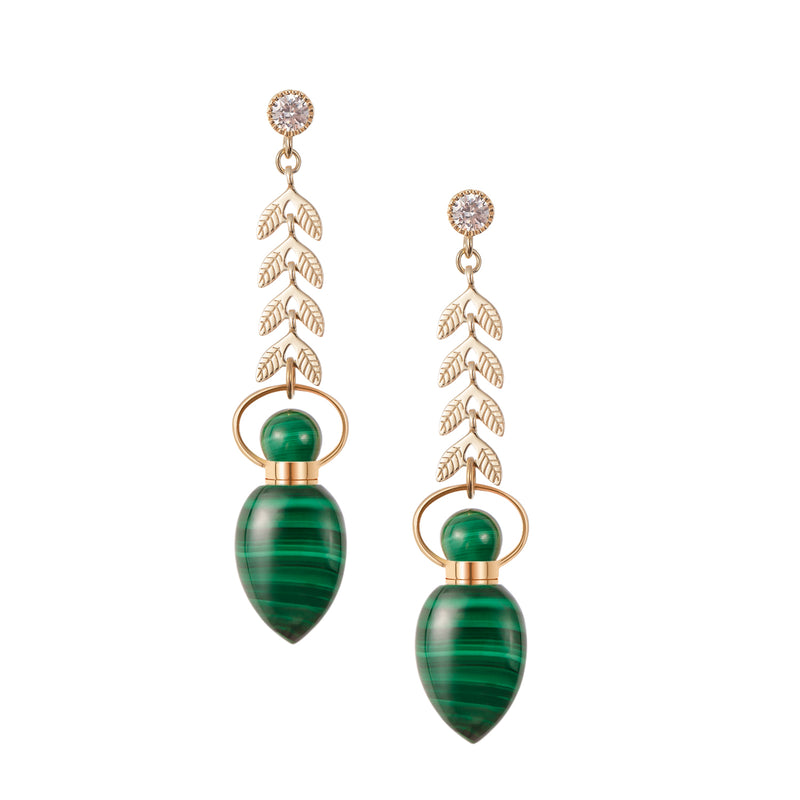 ZEIGLER | Leaf Shaped Malachite Earrings