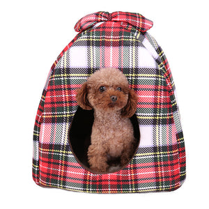 Dog House Bowknot Plaid Dog Bed