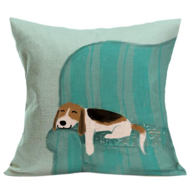 Vintage Cute Dog Pillow Case Sofa Waist Throw Cushion Cover Home Decor
