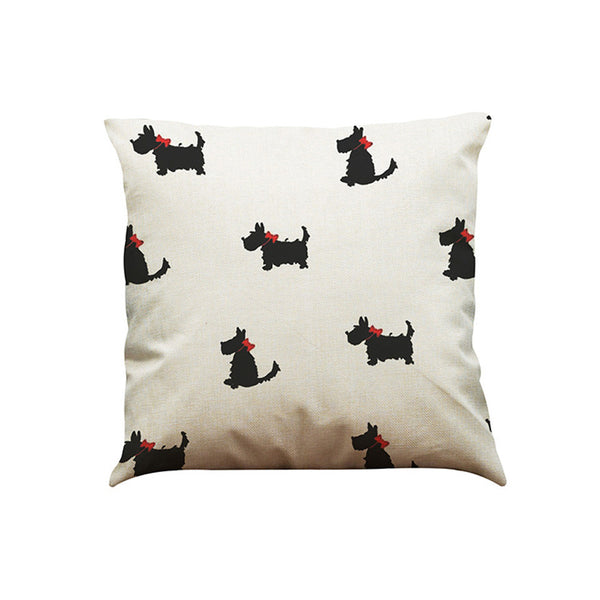 Vintage Dog Cotton Pillow Case Sofa Waist Throw Cushion Cover Home Car Decor