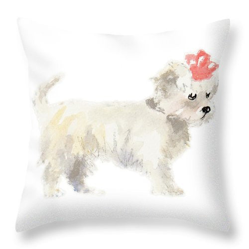 Girly Puppy Throw Pillow