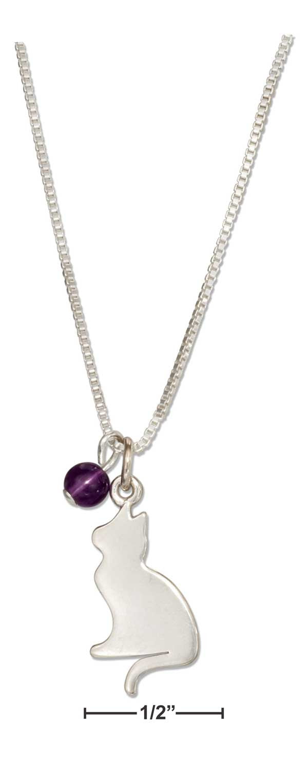 "Sterling Silver 18"" Silhouette Cat Pendant Necklace with Amethyst Bead"