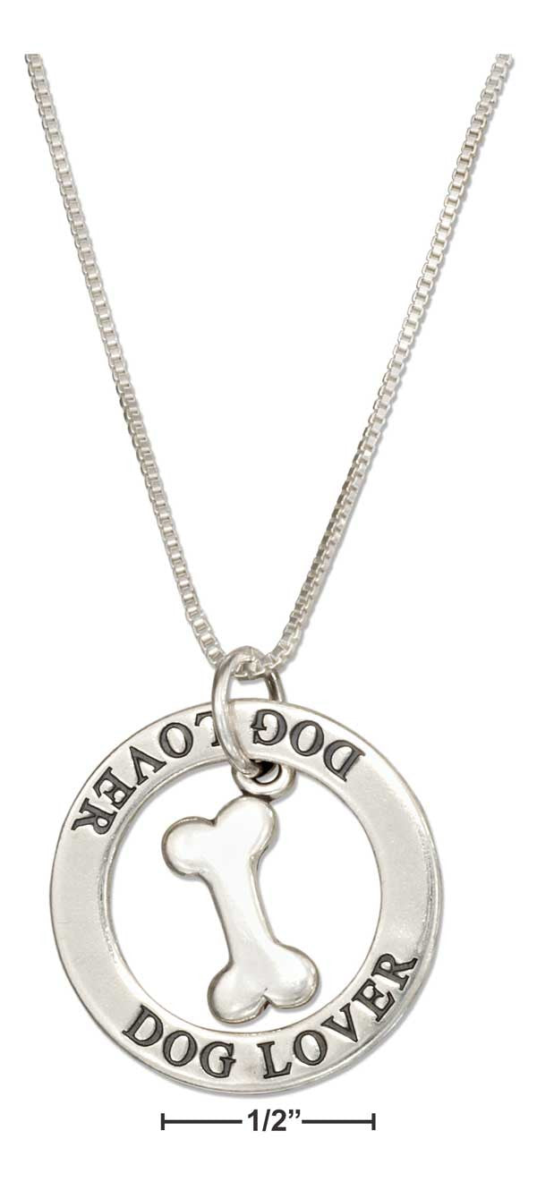 "Sterling Silver 18"" ""dog Lover"" Washer Pendant Necklace with Dog Bone"