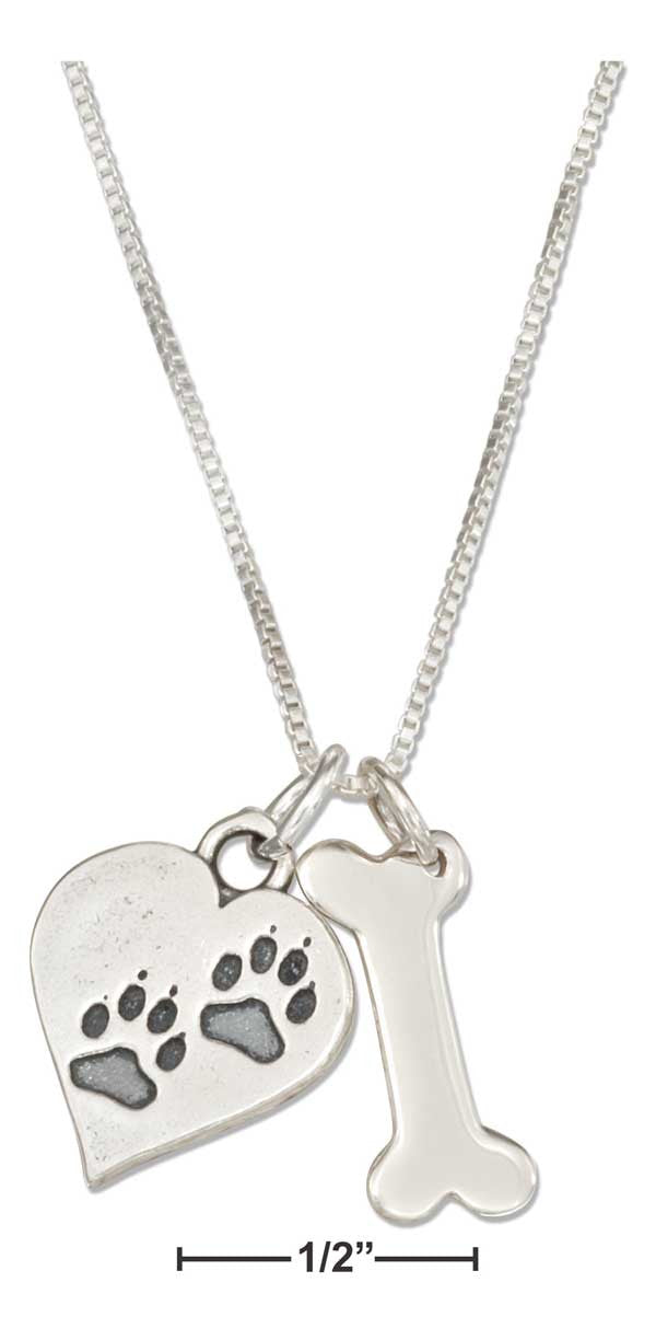 "Sterling Silver 18"" Dog Bone Necklace with Dog Paw Prints Heart Charm"