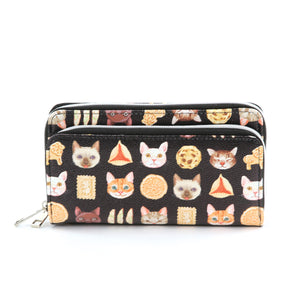 Sleepyville Critters - Cats and Cookies Wallet in Vinyl Material