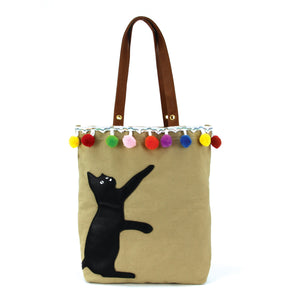 Bon Bon Cat Tote Bag in Canvas Material
