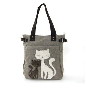 Chic Cat Canvas Tote Bag - Gray