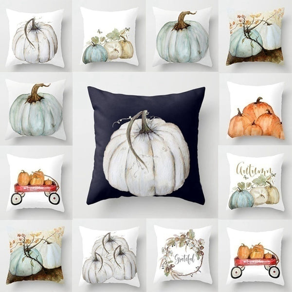 Fall Watercolour Pumpkin Decorative Pillowcase