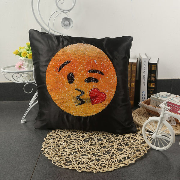 Emoji Smiley Face Changing Sequin Pillow Case