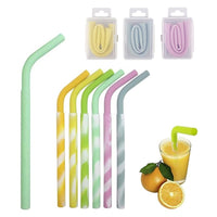 Silicone bendable collapsible straw eco-friendly paper straws great for kids for purse handbag