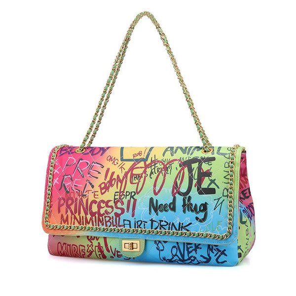 Vibrant Graffiti Princess Shoulder Bag
