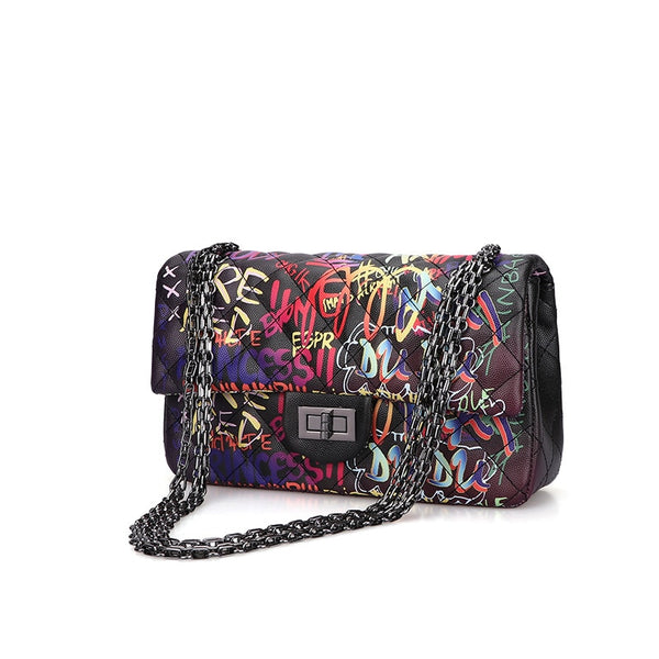Midnight Graffiti Princess Shoulder Bag cross body short strap purse night date vintage chain strap street art