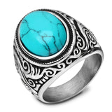 Blue Onyx Stainless Steel Ring