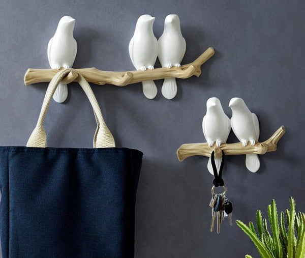 Serenity Birds on a Branch Wall Decor & Hanger (3 birds) Wall Decorations Home Accessories Living Room Hanger Resin Bird hanger key kitchen Coat Clothes Towel Hooks Hat Handbag Holder