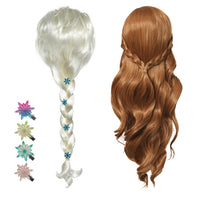 Elsa Anna Frozen snow queen sisters wigs costume dress-up pretend birthday halloween hair braid updo