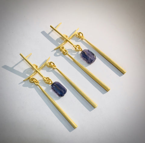 Temple Earrings with Iolite Drops