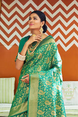 Forest Green Woven Banarasi Brocade Saree