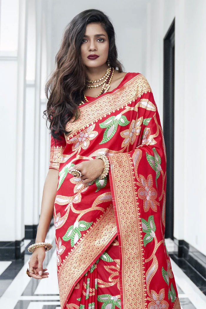 Pomegranate Red Banarasi Saree