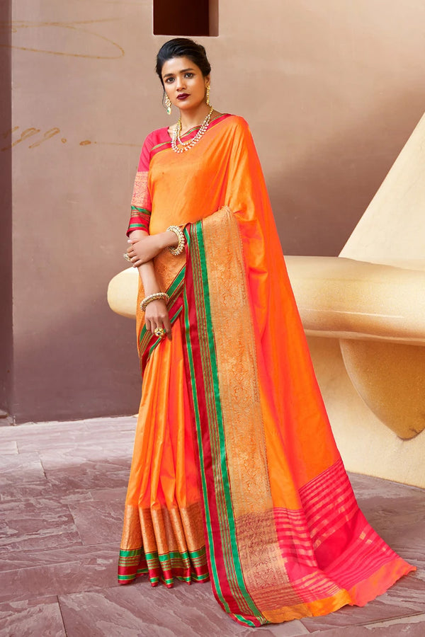 Crusta Orange Linen   Banarasi Saree